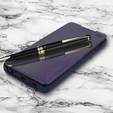 Avizar Etui folio Bleu Nuit Miroir pour Samsung Galaxy S10 Plus pas cher