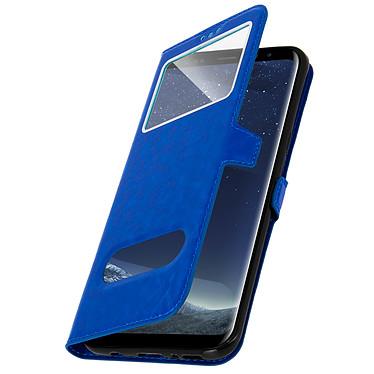 Avizar Etui folio Bleu Éco-cuir pour Samsung Galaxy S8 Plus pas cher