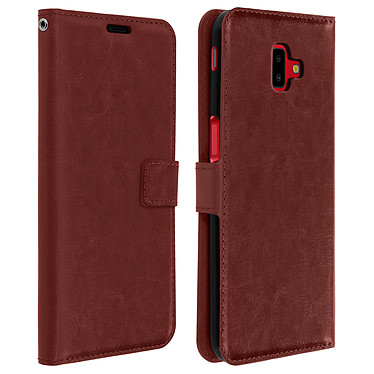 Avizar Etui folio Marron Porte-Carte pour Samsung Galaxy J6 Plus Etui folio Marron avec porte-carte Samsung Galaxy J6 Plus