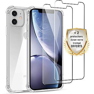EVETANE Coque iPhone 11 Antichoc Silicone + 2 Vitres en verre trempé Protection écran
