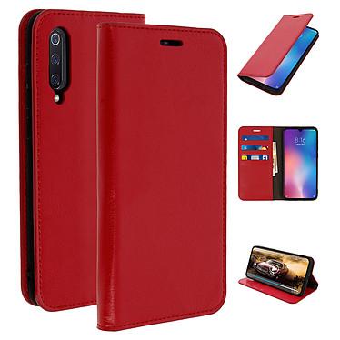 Avizar Etui folio Rouge Cuir véritable pour Xiaomi Mi 9 pas cher