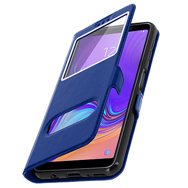 Avizar Etui folio Bleu à fenêtre pour Samsung Galaxy A7 2018 pas cher