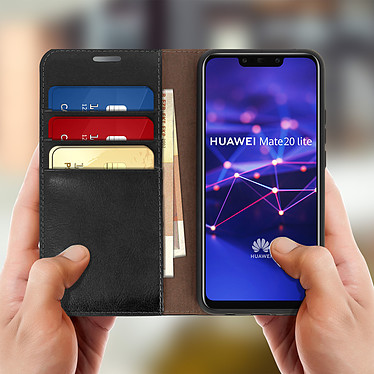 Acheter Avizar Etui folio Noir Cuir véritable pour Huawei Mate 20 Lite