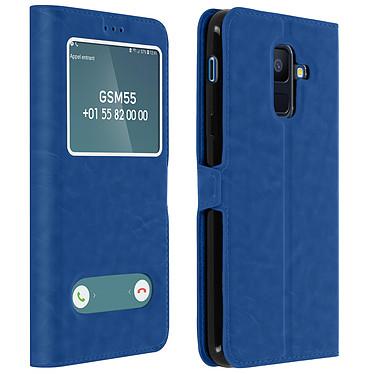 Avizar Etui folio Bleu Éco-cuir pour Samsung Galaxy A6 Plus Etui folio Bleu éco-cuir Samsung Galaxy A6 Plus