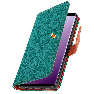 Avizar Etui folio Bleu Éco-cuir pour Samsung Galaxy S9 Plus pas cher