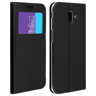 Avizar Etui folio Noir Fenêtre Affichage pour Samsung Galaxy J6 Plus Etui folio Noir avec fenêtre d'affichage Samsung Galaxy J6 Plus
