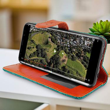 Avis Avizar Etui folio Bleu Éco-cuir pour Samsung Galaxy S9 Plus