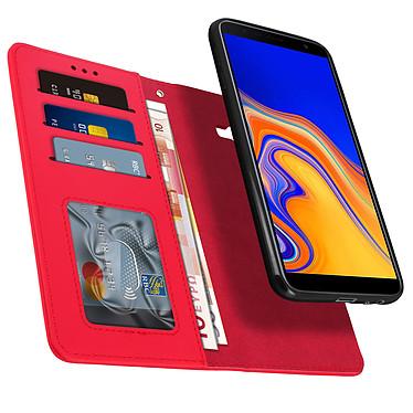Avizar Etui folio Rouge Porte-Carte pour Samsung Galaxy J4 Plus pas cher