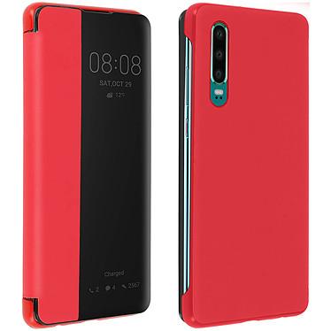 Avizar Etui folio Rouge à fenêtre pour Huawei P30 Etui folio Rouge à fenêtre Huawei P30