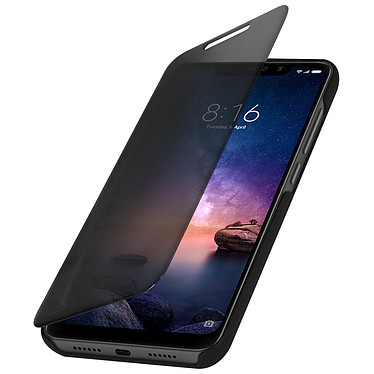 Avizar Etui folio Noir Design Miroir pour Xiaomi Redmi Note 6 Pro Etui folio Noir design effet miroir Xiaomi Redmi Note 6 Pro