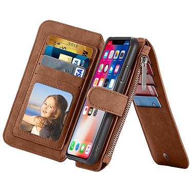 Avizar Etui folio Marron pour Apple iPhone X , Apple iPhone XS pas cher