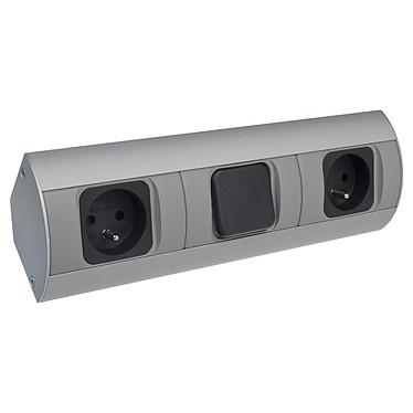 Orno Bloc Prises Avec Interrupteur ORN_AE1304 Bloc prises 2x230V avec interrupteur en aluminium et plastique.
