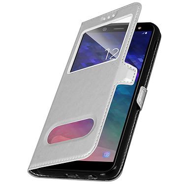 Avizar Etui folio Argent pour Samsung Galaxy A6 pas cher