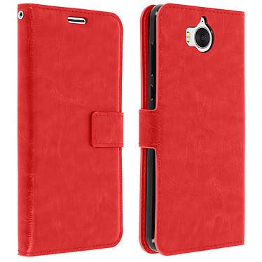 Avizar Etui folio Rouge pour Huawei Y6 2017 pas cher