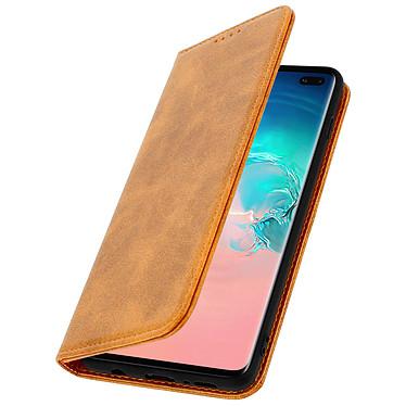 Avizar Etui folio Camel Vieilli pour Samsung Galaxy S10 Plus pas cher