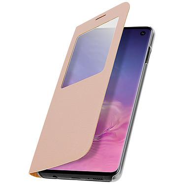 Avizar Etui folio Dorée à fenêtre pour Samsung Galaxy S10e pas cher