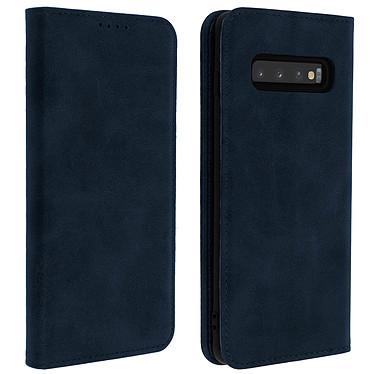 Avizar Etui folio Bleu Nuit Vieilli pour Samsung Galaxy S10 Plus Etui folio Bleu Nuit aspect vieilli Samsung Galaxy S10 Plus