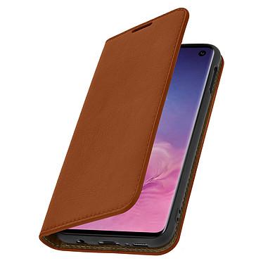 Avizar Etui folio Camel Cuir véritable pour Samsung Galaxy S10 pas cher