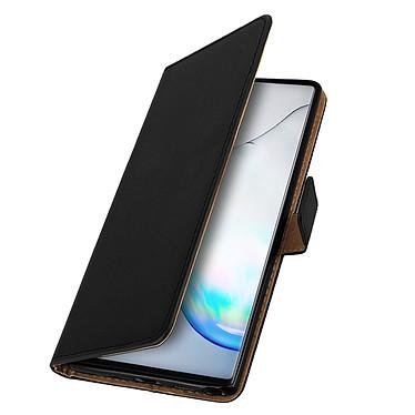 Avizar Etui folio Noir Cuir véritable pour Samsung Galaxy Note 10 pas cher