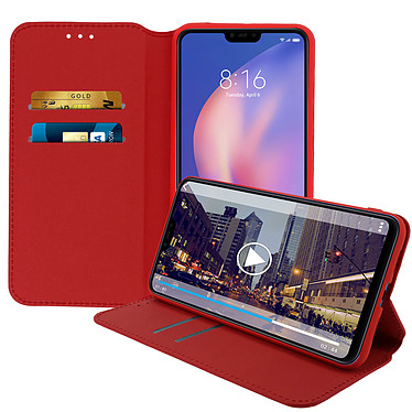 Avizar Etui folio Rouge Éco-cuir pour Xiaomi Mi 8 Lite pas cher