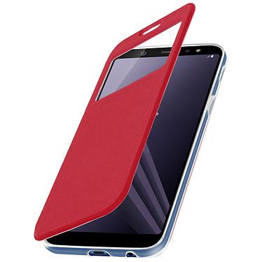 Avizar Etui folio Rouge à fenêtre pour Samsung Galaxy A6 Plus pas cher