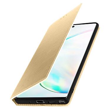 Avizar Etui folio Dorée Éco-cuir pour Samsung Galaxy Note 10 Plus pas cher