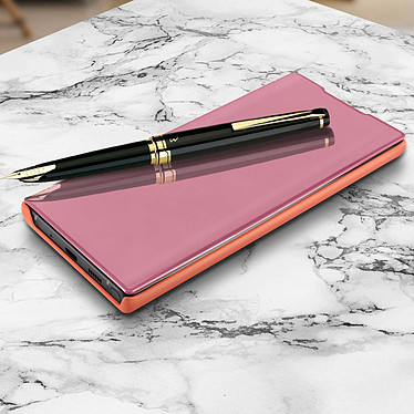 Avizar Etui folio Rose Champagne Design Miroir pour Samsung Galaxy Note 10 Plus pas cher
