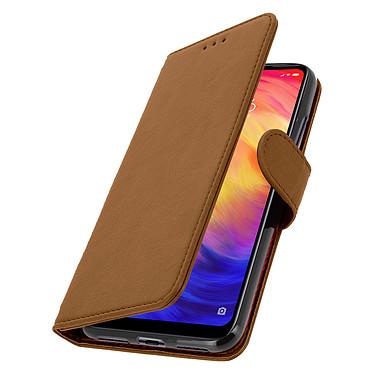 Avizar Etui folio Marron Porte-Carte pour Xiaomi Redmi Note 7 pas cher