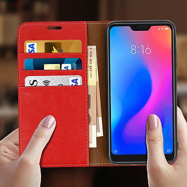 Acheter Avizar Etui folio Rouge Cuir Véritable pour Xiaomi Mi A2 Lite