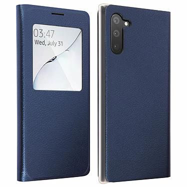 Avizar Etui folio Bleu Nuit à fenêtre pour Samsung Galaxy Note 10 Etui folio Bleu Nuit à fenêtre Samsung Galaxy Note 10