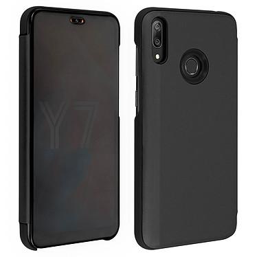 Avizar Etui folio Noir Design Miroir pour Huawei Y7 2019 Etui folio Noir design effet miroir Huawei Y7 2019