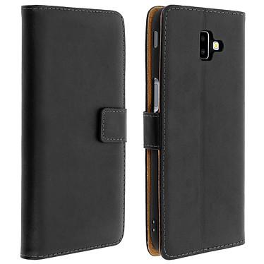 Avizar Etui folio Noir Cuir véritable pour Samsung Galaxy J6 Plus Etui folio Noir cuir véritable Samsung Galaxy J6 Plus