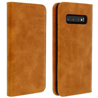 Avizar Etui folio Camel Vieilli pour Samsung Galaxy S10 Plus Etui folio Camel aspect vieilli Samsung Galaxy S10 Plus