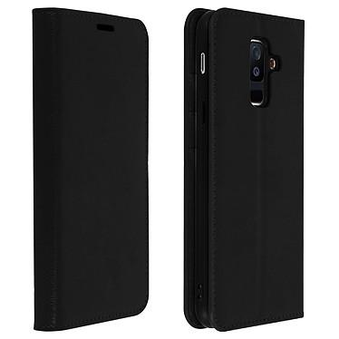 Avizar Etui folio Noir Cuir véritable pour Samsung Galaxy A6 Plus pas cher