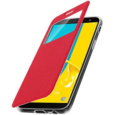 Avizar Etui folio Rouge à fenêtre pour Samsung Galaxy J6 pas cher