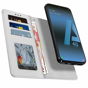 Avizar Etui folio Argent pour Samsung Galaxy A40 pas cher