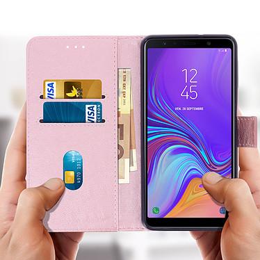 Acheter Avizar Etui folio Rose Champagne Porte-Carte pour Samsung Galaxy A7 2018