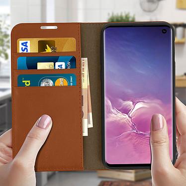 Acheter Avizar Etui folio Camel Cuir véritable pour Samsung Galaxy S10