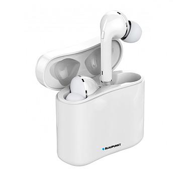 Blaupunkt MP4770 blanc Oreillettes sans fil avec étui de charge, aimantés Bluetooth 5.0 taille universel Compatible IOS, Android, Kit mains libres, jusqu'a 12H d'autonomie