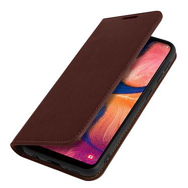Avizar Etui folio Marron Cuir véritable pour Samsung Galaxy A20e pas cher
