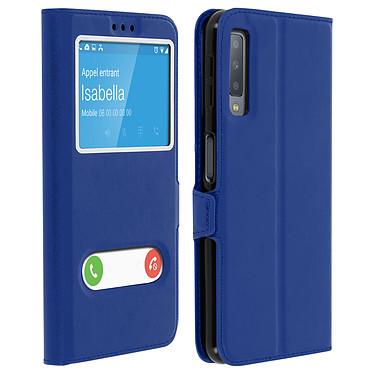 Avizar Etui folio Bleu à fenêtre pour Samsung Galaxy A7 2018 Etui folio Bleu à fenêtre Samsung Galaxy A7 2018