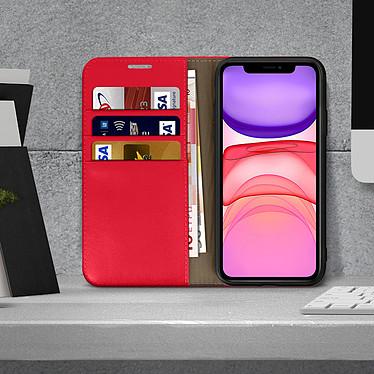 Acheter Avizar Etui folio Rouge Cuir véritable pour Apple iPhone 11