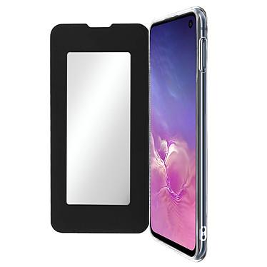 Avizar Etui folio Noir Miroir pour Samsung Galaxy S10e Etui folio Noir miroir intégré Samsung Galaxy S10e
