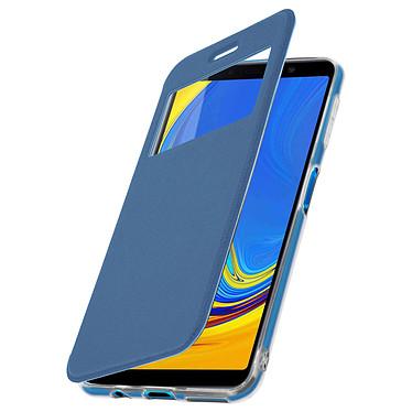 Avizar Etui folio Bleu Éco-cuir pour Samsung Galaxy A7 2018 pas cher