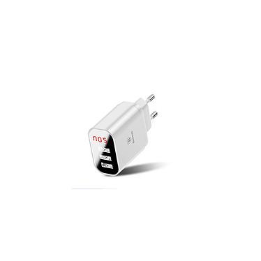 BASEUS Chargeur 3 USB avec Affichage Charge rapide 3.4A Max couleur Blanc