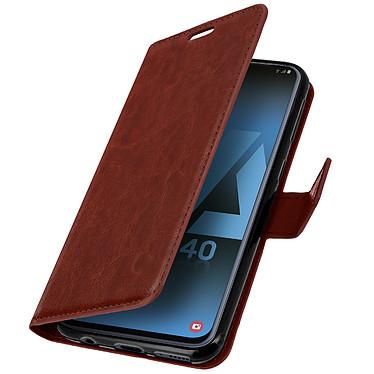 Avizar Etui folio Marron pour Samsung Galaxy A40 pas cher