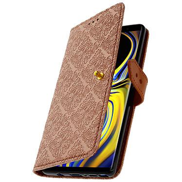 Avizar Etui folio Rose Champagne Éco-cuir pour Samsung Galaxy Note 9 pas cher