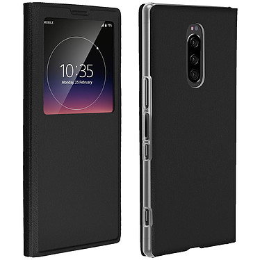 Avizar Etui folio Noir à fenêtre pour Sony Xperia 1 Etui folio Noir à fenêtre Sony Xperia 1