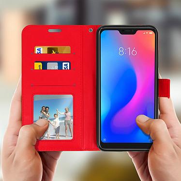 Avizar Etui folio Rouge Éco-cuir pour Xiaomi Mi A2 pas cher