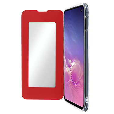 Avizar Etui folio Rouge Miroir pour Samsung Galaxy S10e Etui folio Rouge miroir intégré Samsung Galaxy S10e